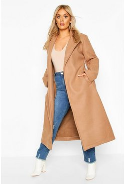 Camel beige Plus Oversized Self Belted Long Coat