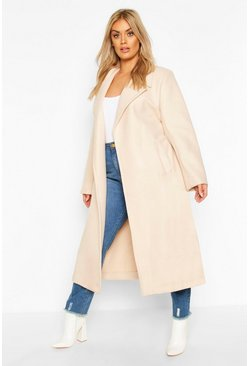 Cream white Plus Oversized Self Belted Long Coat