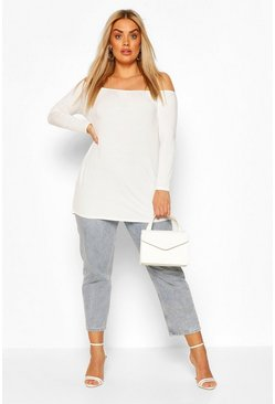 White Plus Basic Off Shoulder Oversized Longsleeve Top