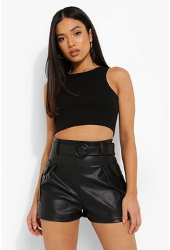 Black Petite Faux Leather Belted Utility Pocket Short