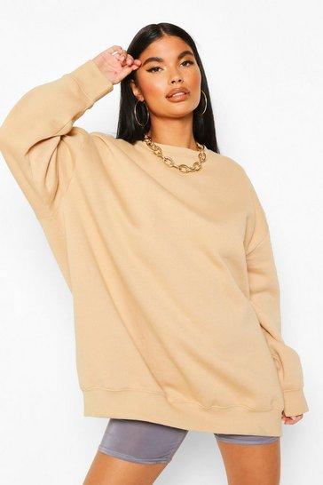 Beige Petite Oversize Sweatshirt