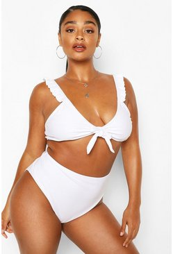 Plus Ruffle Tie Front High Waist Bikini, White bianco