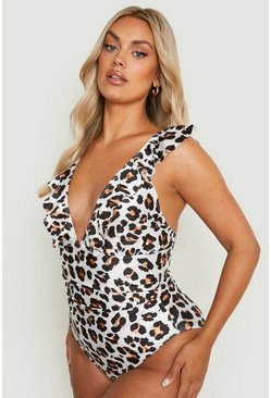 Brown Plus Animal Ruffle Plunge Swimsuit