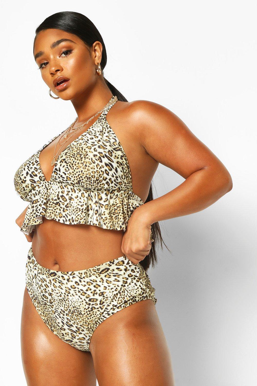 Plus Leopard Ruffle High Waist Bikini 6