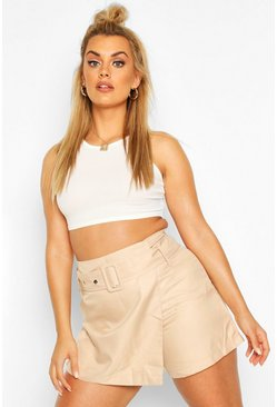 Stone beige Plus Self Belt Tailored Skort
