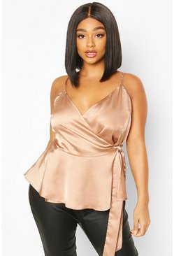 Rose gold Plus Satin Wrap Tie Side Peplum Cami