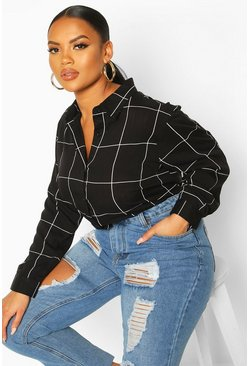 Black Plus Grid Check Oversized Shirt