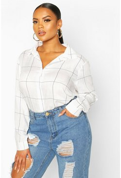 White Plus Grid Check Oversized Shirt