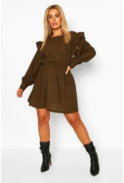 Plus Grid Check Ruffle Skater Dress, Khaki kaki