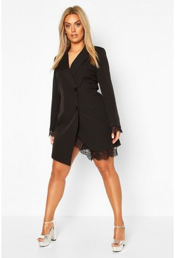 Black Plus Lace Insert Blazer Dress