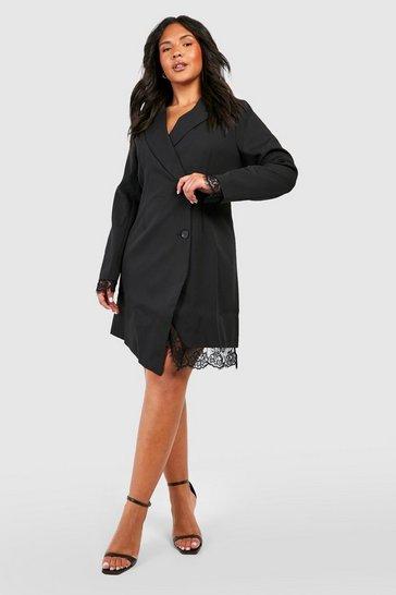 Black Plus Lace Insert Blazer Dress