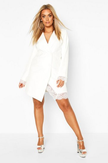 Ivory white Plus Lace Insert Blazer Dress