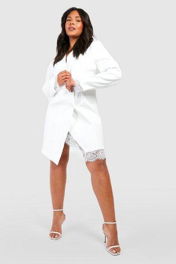 Ivory white Plus Lace Insert Blazer Dress