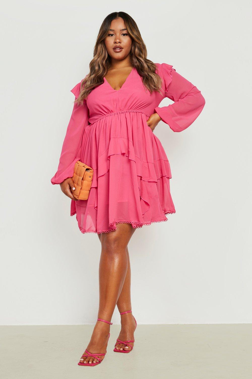 Plus Tiered Ruffle Plunge Skater Dress 7