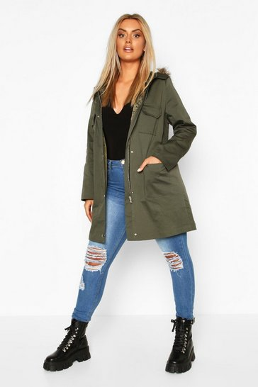 Khaki Plus Pocket Detail Faux Fur Trim Hooded Parka