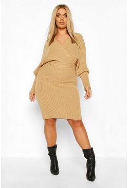 Camel beige Plus Wrap Knittted Midi Dress