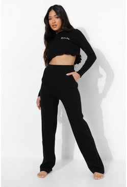 Black Petite 'Honey' Slogan Frill Top PJ Set