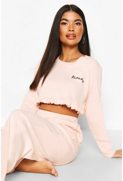 Blush pink Petite 'Honey' Slogan Frill Top PJ Set