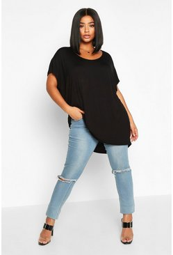Plus Basic Oversize Dip Hem T-Shirt, Black noir