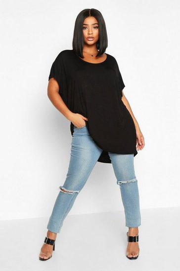 Black Plus Basic Oversize Dip Hem T-Shirt