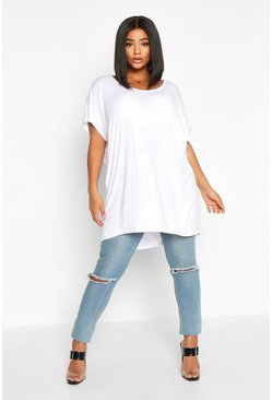 White Plus Basic Oversize Dip Hem T-Shirt