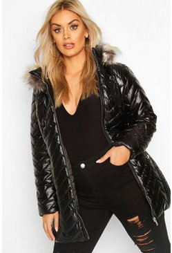 Black Plus High Shine Puffer Parka Faux Fur Coat
