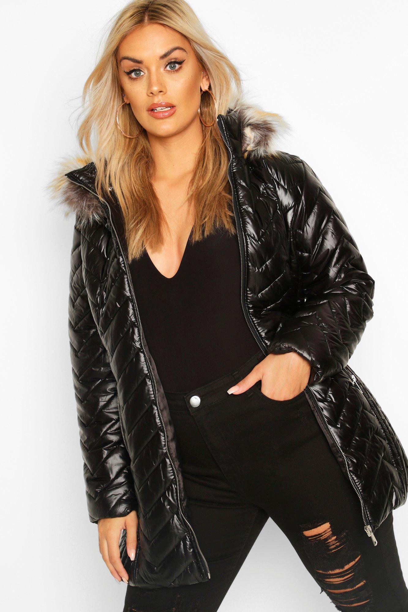 COATS & JACKETS Plus High Shine Puffer Parka Faux Fur Coat