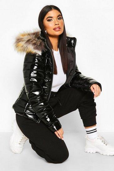 Black Petite High Shine Faux Fur Trim Hooded Coat