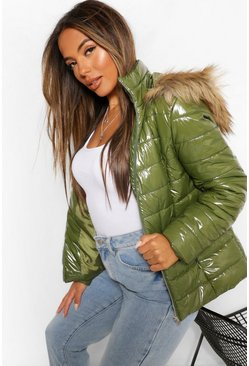 Khaki Petite High Shine Faux Fur Trim Hooded Coat