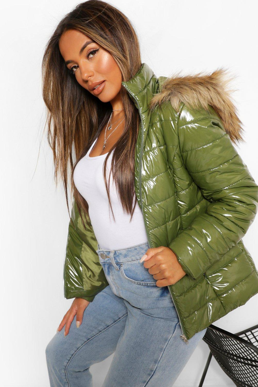 Petite Coats & Jackets Petite High Shine Faux Fur Trim Hooded Coat