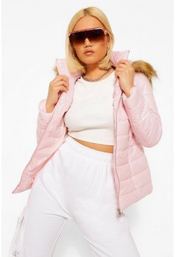 Rose pink Petite High Shine Faux Fur Trim Hooded Coat
