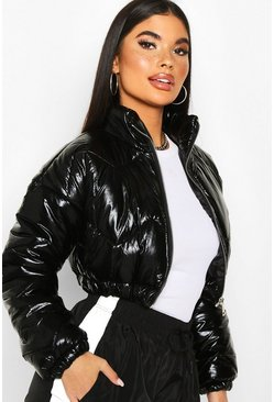 Black Petite Cropped High Shine Padded Jacket