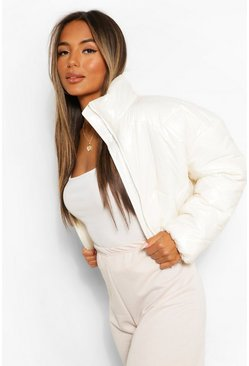 Cream white Petite Cropped High Shine Padded Jacket