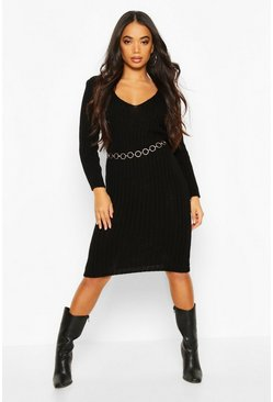 Black Petite V Neck Knit Midi Dress