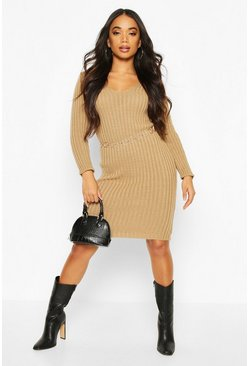 Camel beige Petite V Neck Knit Midi Dress