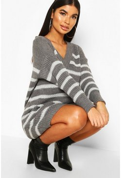 Grey Petite Chunky Knit Stripe V Neck Jumper Dress