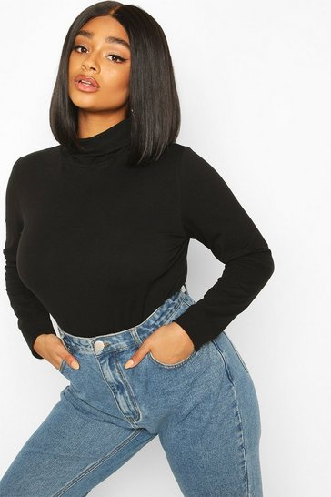 Black Plus Basic Roll Neck Longsleeve Bodysuit