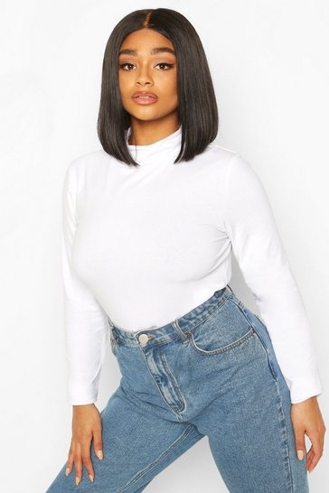 White Plus Basic Roll Neck Longsleeve Bodysuit