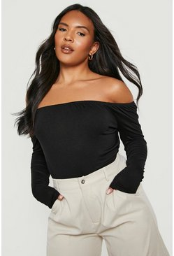 Black Plus Basic Off The Shoulder Longsleeve Bodysuit