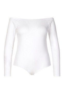 White Plus Basic Off The Shoulder Long Sleeve Bodysuit