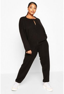 Black Plus Zip Through Knitted Lounge Set