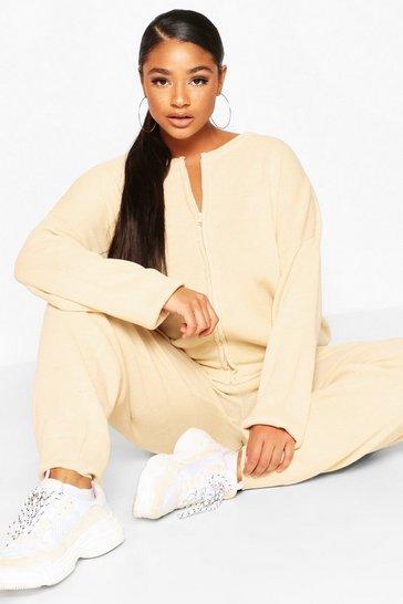 Ecru white Plus Zip Through Knitted Loungewear Set