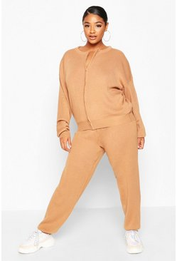 Toffee beige Plus Zip Through Knitted Lounge Set