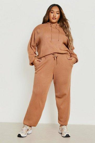 Toffee beige Plus Knitted Hoodie Loungewear Set