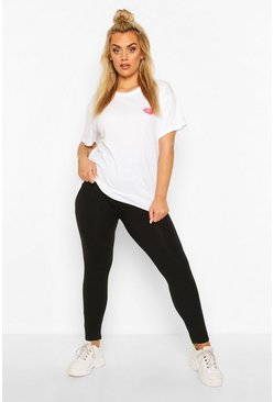 Black svart Plus - Basic Leggings i bomullsmix