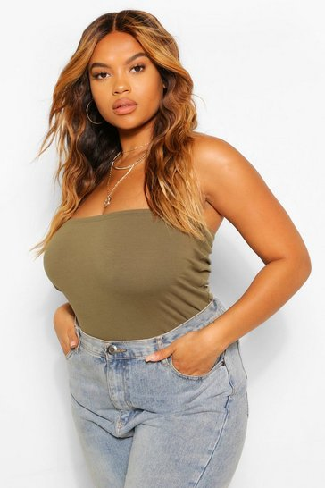 Khaki Plus Basic Bandeau Tube Top