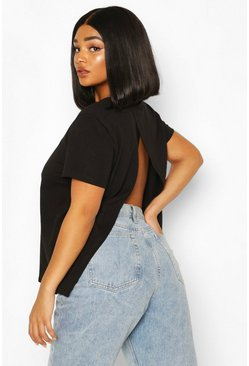 Black Plus Open Split Back T-Shirt