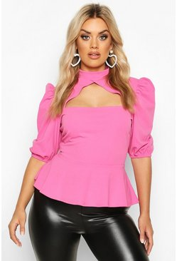 Fuchsia pink Plus Choker Cut Out Puff Sleeve Peplum Top