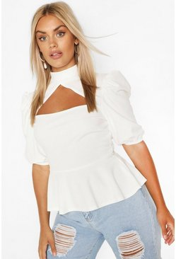 Plus Choker Cut Out Puff Sleeve Peplum Top, Ivory blanco