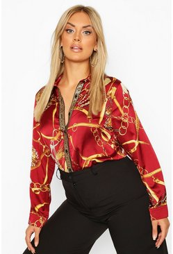 Wine red Plus Chain Print Shirt